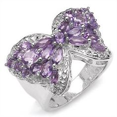 Amethyst and Diamond butterfly ring