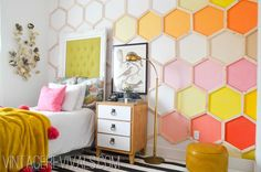 Honeycomb Hexagon Wall @ Vintage Revivals-Love that wall!! little girls, kid rooms, wall treatments, little girl rooms, room makeovers, feature walls, hexagon, bedroom, dream rooms