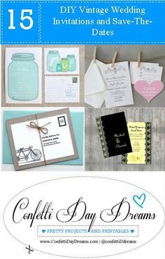 15 Gorgeous DIY Vintage Wedding Invitations and Save-The-Dates.  Thinking of adding in a bit of  DIY vintage wedding glam to your wedding invitations, as well as wowing your guests?    Gorgeously hand crafted vintage save the dates and invites are the perfect way to arouse just the right amount of curiosity amongst your guests before the big day.