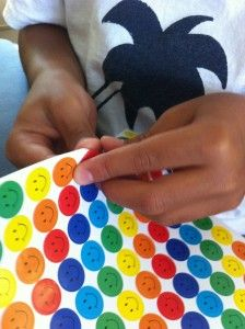 Lots of ways to use stickers to help young students learn to write and cut.  Tips from an OT  Miss Mancy are great for a regular classroom too!