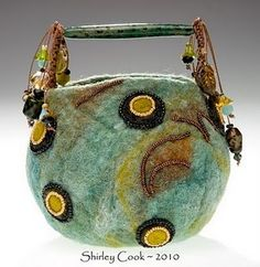 Wow - Fiber art mixed with handmade glass beads - nice!! handmad glass, felt purs, glass bead