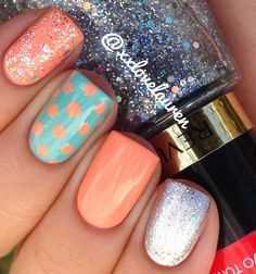 polka dots, color schemes, color combos, spring nails, nail designs