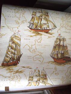 Vintage 70s Norwall Wallpaper. Vtg Wallcovering. Big Ships Wallcovering. 57 Sq ft.