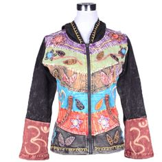 Rib Cotton  Bohemian Jacket There are various types of appliqués on the front of a jacket. These make the jacket little different from other jackets. On the bottom end of sleeves, there are two ohm symbols. The front of a jacket has a bright color, while the back has plain color.  Unit Price: US$17.76