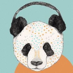 Polkadot Panda //  print 5x8 A5 by SandraDieckmann on Etsy, £6.00