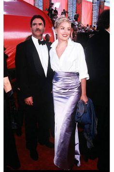 Sharon Stone mixes high and low in Vera Wang and Gap at the Oscars, 1998