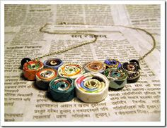 Paper bead necklace.
