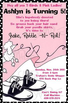 Custom Printable Girl Birthday 50s Fifties Diner Party Sock Hop poodle party Invitation