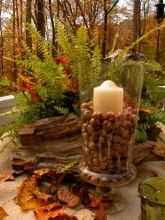 fall decoration candle