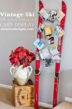 Vintage Ski Christmas Card Display- such a fun and unique way to display Christmas Cards!