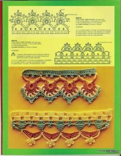 Many beautiful #crochet #edgings with charts at this link.