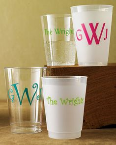 Set of 100 monogrammed cups. Love these!