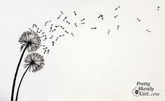 wall art, art paintings, crafti, paint dandelion, graphics, tattoo, graphic art, art tutorials, dandelion wall