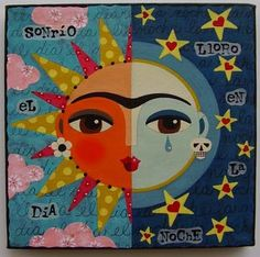 Frida Kahlo Sun and Moon Face 8 x 8 PRINT of painting by LuLu