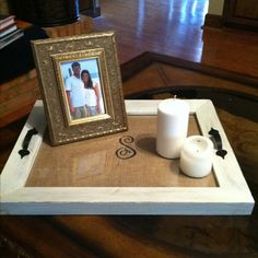 DIY tray made from picture frame, use for tufted ottoman.