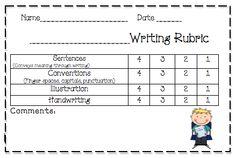 writing rubric- kindergarten
