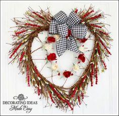 Craft a rustic Valentine wreath.