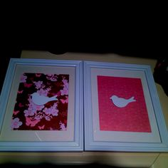 Inexpensive art for kids room  Framed scrapbook paper with painted wooden bird from craft store.