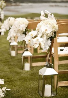 Outdoor Wedding Aisle Decorations_ Lanterns with white candles