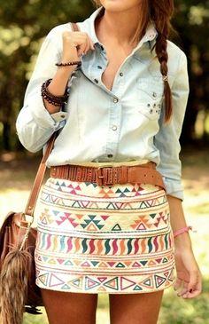 handbag, tie, aztec skirt, blous, outfit