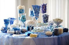 Azure Blue Wedding Centrepieces, Wedding Table Decorations Wedding Candy Table - http://www.weddingdecordirect.co.uk/brands/Blue-Decorations.html
