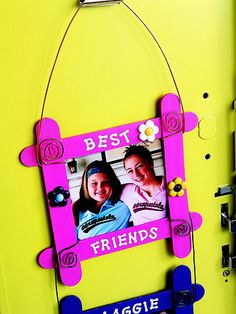 Crafty Projects for the Coolest School Locker: Help your kids spruce up their lockers with these 5 simple projects, each on separate pins:   Customized Picture Frame 1. Paint four crafts sticks yellow and four blue. 2. Place the yellow sticks in a square shape, crossing them as shown in photo, right; glue in place. 3. Repeat for the blue sticks. 4. Decorate the frames with stickers. 5. For a top hanging wire, cut a 26-inch piece of purple wire. Make a coil at each end. Bend wire to form an up...