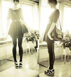 Black Dress, Doctor Bag, H&M Black Tights, Wedges, Second Hand Vintage Belt