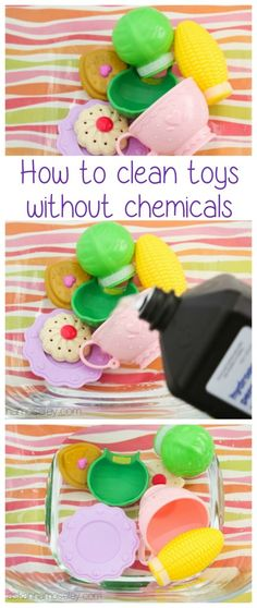 How to clean toys with hydrogen peroxide.  DIY without harsh chemicals. Try these cleaning tips.