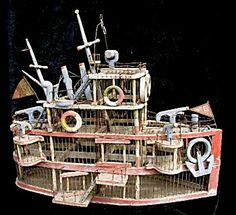 Victorian Folk Art Bird Cage 19th Century Battle Ship Steam Boat