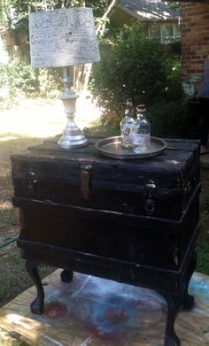 Steamer trunk re-purposed into a serving buffet | finally, an idea for something to do with  steamer trunks!!
