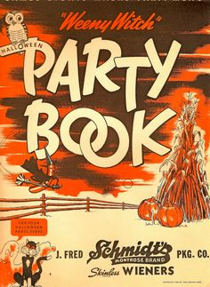 Weeny Witch Halloween Party Book, 1950s. #vintage #1950s #kids #Halloween