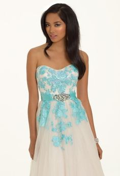 Two Tone Strapless Prom Dress with Corset Tie Back from Camille La Vie and Group USA