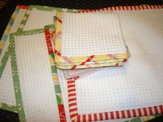 Make your own dish cloths in minutes with your leftover jelly roll fabric and some easy strip quilting.