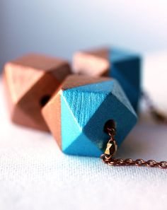 Geometric Wood Necklace  Metallic Blue and Copper by MakiYDesign, $24.00