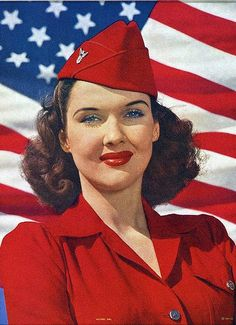 Victory Girl, 1944, color ad image. #vintage #1940s #WW2 #patriotism