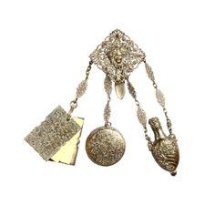 Antique Victorian Chatelaine Rhodium Purse Bag