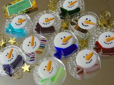Fused glass snowman ornaments