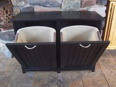 I need this...or someone t o make it for me! New Black Painted Wood Double Trash Bin Cabinet Garbage Can Tilt Out Doors.  This would be nice for clothes hamper.