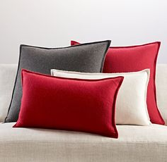 """Cashmere Pillow Covers, 22"""" square, Garnet, 2 total = $178"""
