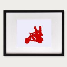 Couple on a Vespa Silhouette Print 8x10 par lepapierstudio sur Etsy, $22,00