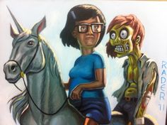 From Bob's Burgers - Tina, a unicorn, and her zombie boy.