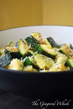 Garlic Roasted Zucchini: 2 zucchini, olive oil, salt, pepper, rosemary, garlic. Cut zucchini into pieces and combine in zip lock bag with garlic, enough olive oil to coat, salt, pepper and rosemary and squish to mix. Put on cookie sheet and bake at 375 for 20-25 min or until zucchini is soft and golden