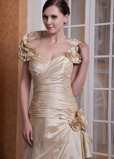 Bernice Noble Taffeta A-Line Chapel Train Off-The-Shoulder Pleats And Flower Evening Dress