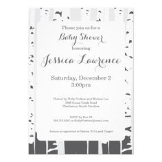 Grey Aspen Trees Baby Shower Invitation These modern party invitations feature an elegant set of aspen trees. Customized with your information and color choice, they are a great way to invite your friends to any party.
