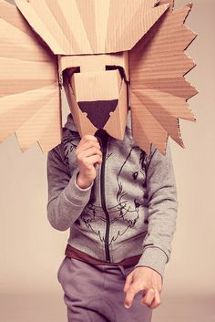 costum, lion mask, paper, diy lion, cardboard box crafts, kid, cardboard crafts
