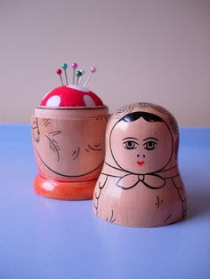 cute vintage matryoshka doll  recycled  into a pin-cushion with a lid - safe storage for your pins'n'needles - clever!
