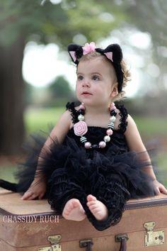 "Cat Kitten Halloween Costume - ""Tutu Cute"" Cat Kitten - Girl Toddler Baby Infant Newborn Halloween Costume"