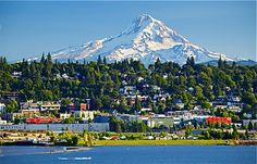 Hood River, OR, is an adorable town with a spectacular view of Mt. Hood. The riverfront is known for world-class kiteboarding & wind-surfing & on nice days you can go down & enjoy watching it all (or try it). This is a reasonable day trip from Portland.