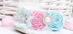 Shabby Chic Headband with Pink and Aqua Blue Roses by cacababy, $8.95