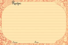 Free Printable Recipe Card Templates